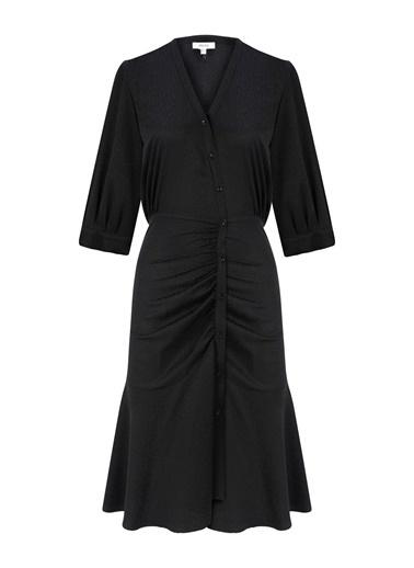 Ipekyol Eteği Volanlı Gömlek Elbise Siyah